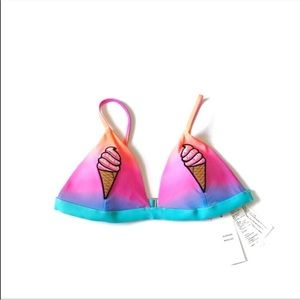 New Hollister Ice Cream Cone Bikini Swim Top XS